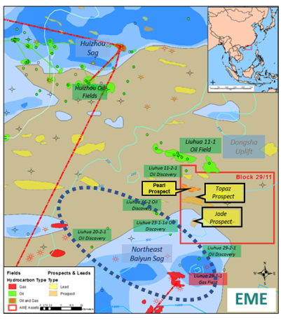 Figure 1: Block 29/11, Pearl River Basin, Offshore China